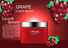 Cosmetic cream with grapes on red shining light background Stock Photo