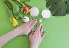 Cosmetic cream hand tulip flower lifestyle creative manicure essence monstera leaf on green colored paper stock image