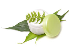 Cosmetic cream with leaf Royalty Free Stock Photo