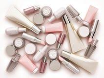 Cosmetic cream, lipstik and perfume on white background. Top vie. W Stock Photo