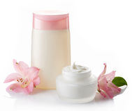 Cosmetic cream and lotion Stock Images