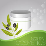 Cosmetic cream with olives Stock Photography
