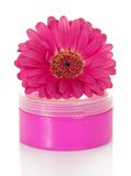 Cosmetic cream in the pink container Royalty Free Stock Photography