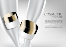Cosmetic cream with pouring milk and template on white backgroun. D Royalty Free Stock Photography