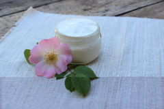 Cosmetic cream with rose hip flower stock photos
