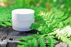 Cosmetic cream for skin care. Natural cosmetics outdoors.  stock photos
