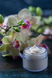 Cosmetic cream and yellow Orchid on black wooden table. Stock Photography