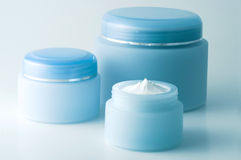 Cosmetic creams (1). 3 containers of a different cosmetic creams Royalty Free Stock Photography