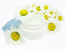 Cosmetic creme for face with daisy essence Royalty Free Stock Photography