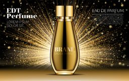 Cosmetic Design Product. Realistic Gold Woman Parfume Bottle Mockup on Dazzling Background. Golden bokeh. Contained. Glass Mock up. Excellent Advertising. 3D Royalty Free Stock Image
