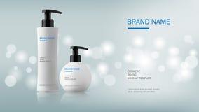 Cosmetic design template, dispenser pump plastic bottle. On silver glitter background with bokeh light, vector illustration Stock Images