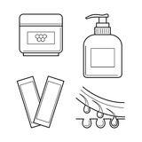 Cosmetic equipment for waxing procedure. Vector icons set of tools for waxing procedure. Cosmetic equipment for epilation: strips, wax and aftershave cream Royalty Free Stock Photos