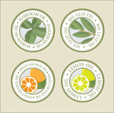 COSMETIC ESSENTIAL OILS LABELS SET. Specie, aromatherapy herbs Stock Images