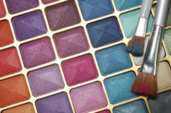 Cosmetic eyeshadow with brush. Cosmetic,  eyeshodow with hair brushes on it Stock Photos