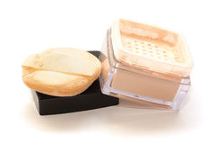 Cosmetic face powder and applicators Stock Photography