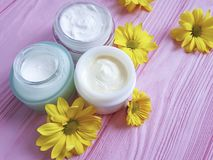 Cosmetic facial cream plant treatment container handmade organic product daisy flowers on a pink wooden Royalty Free Stock Photo