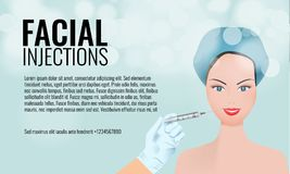 Cosmetic facial injections ad layout template. 3d woman face and hand holding syringe. Illustrated vector. Cosmetic facial injections vector ad layout template vector illustration