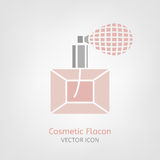 Cosmetic Flacon Icon. Image in light pink and grey colours. Beautiful vector illustration in flat modern style isolated on a white background Royalty Free Stock Image