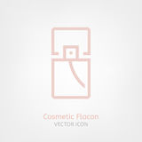 Cosmetic Flacon Icon. Image in light pink and grey colours. Beautiful vector illustration in flat modern style isolated on a white background Royalty Free Stock Photography