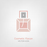 Cosmetic Flacon Icon. Image in light pink and grey colours. Beautiful vector illustration in flat modern style isolated on a white background Stock Image
