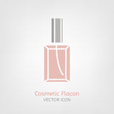 Cosmetic Flacon Icon. Image in light pink and grey colours. Beautiful vector illustration in flat modern style isolated on a white background Royalty Free Stock Photos