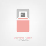 Cosmetic Flacon Icon. Image in light pink and grey colours. Beautiful vector illustration in flat modern style isolated on a white background Royalty Free Stock Images