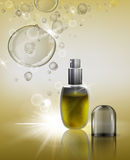 Cosmetic Flacon Image. Transparent glass flacon with silver elements. Beautiful vector illustration in realistic style. Cosmetic medicine, skin care or perfumery Stock Photography
