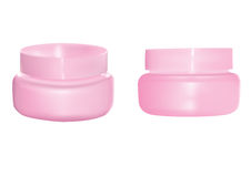 Cosmetic flask. 3D illustration of 2 pink cosmetic containers. you can add your logo or art here Stock Photos