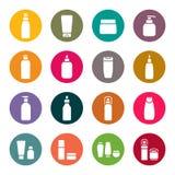 Cosmetic flasks icon set Stock Photos