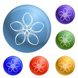 Cosmetic flower icons set vector royalty free illustration