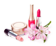 Cosmetic and flower Stock Image