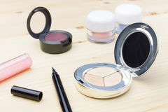 Cosmetic Foundation and Eye Liner and Eyeshadow Stock Image