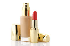 Cosmetic foundation and lipstick Stock Photo