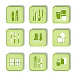 Cosmetic green icons for web design Stock Photo
