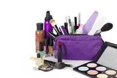 Cosmetic group with make up purse Stock Images