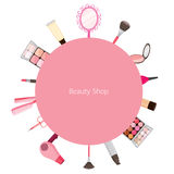 Cosmetic and hair salon equipments round frame Stock Image