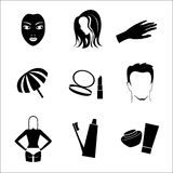 Cosmetic Icon Set. Black silhouette cosmetic icon set Stock Images