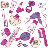 Cosmetic icons. Collection of female accessories of beauty. Cosmetic icons vector illustration