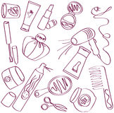 Cosmetic icons. Collection of female accessories of beauty. Cosmetic icons stock illustration