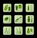 Cosmetic icons Cosmetic green icons for web design Royalty Free Stock Images