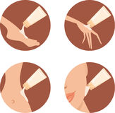 Cosmetic icons. Creams for different parts of a bo Stock Image