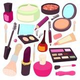 Cosmetic icons set, cartoon style Stock Photos