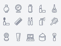 Cosmetic icons. Thin lines. Flat design stock illustration