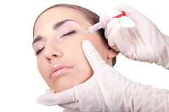 Cosmetic injection of botox stock photos