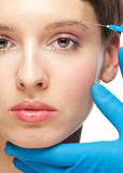 Cosmetic injection of botox Stock Images
