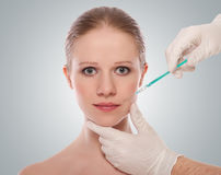 Cosmetic injection of Botox to female face Royalty Free Stock Photography