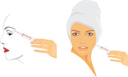 Cosmetic injection of hyaluronic acid Royalty Free Stock Image