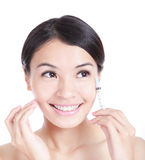 Cosmetic injection to the pretty woman face Stock Photo
