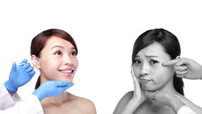 Cosmetic injection to the pretty woman face Stock Photography