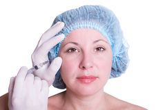 Cosmetic injection for woman stock image